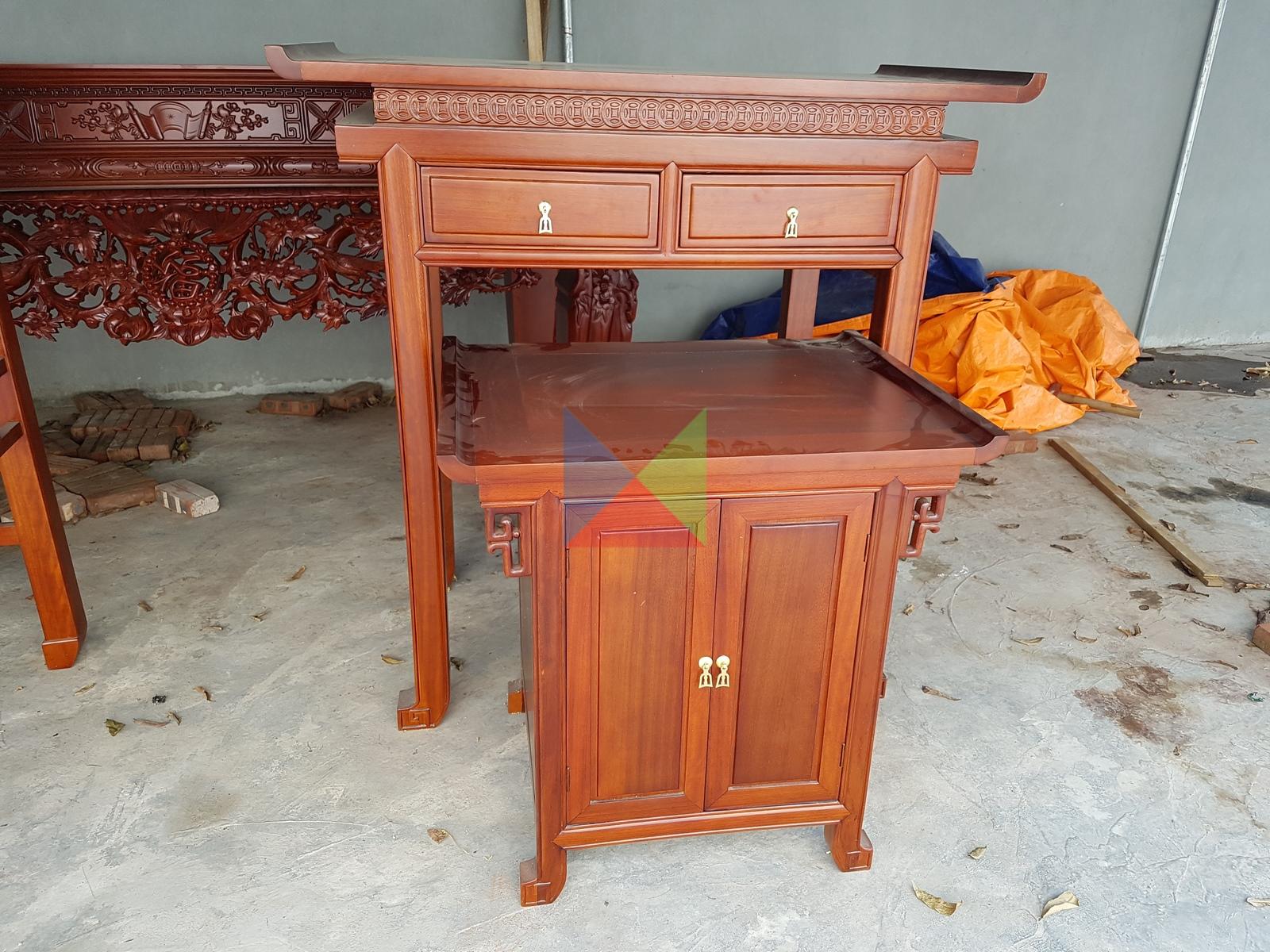 Bộ bàn kẹp và tủ hiện đại kích thước 127 cm gỗ tràm
