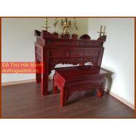 * Bộ bàn thờ gia tiên mẫu triện gỗ hương đỏ 155 kèm bàn cơm