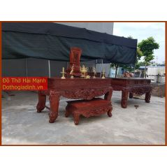 Sập thờ, bàn thờ chân quỳ gỗ dổi DC22HM03