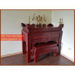 * Bàn thờ chung cư bộ kẹp bàn thờ triện gỗ hương đỏ 155 kèm bàn cơm