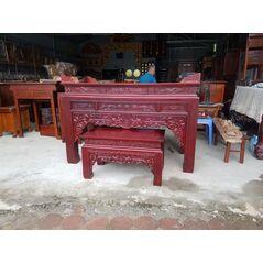 Bàn thờ triện gỗ hương đỏ 197 chân 14 kèm bàn cơm