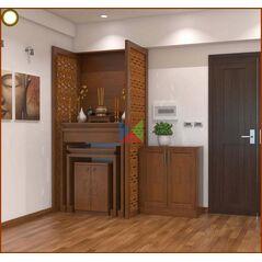 Vách ngăn phòng thờ CNC gỗ tự nhiên 4