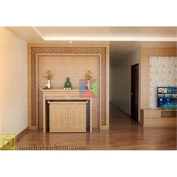 Bàn thờ gia tiên mẫu hiện đại kèm tủ đẹp cho căn hộ nhà chung cư